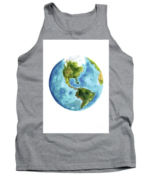 Planet Earth, South America Illustration, Watercolor World Map Painting Tank Top