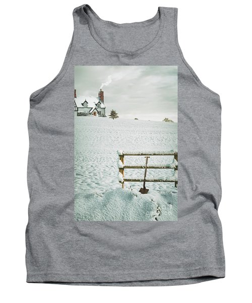 Spade Leaning Against Fence In The Snow Tank Top