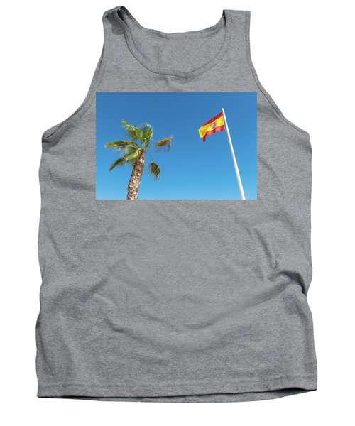 Spanish Flag And Palm Tree In The Blue Sky Tank Top