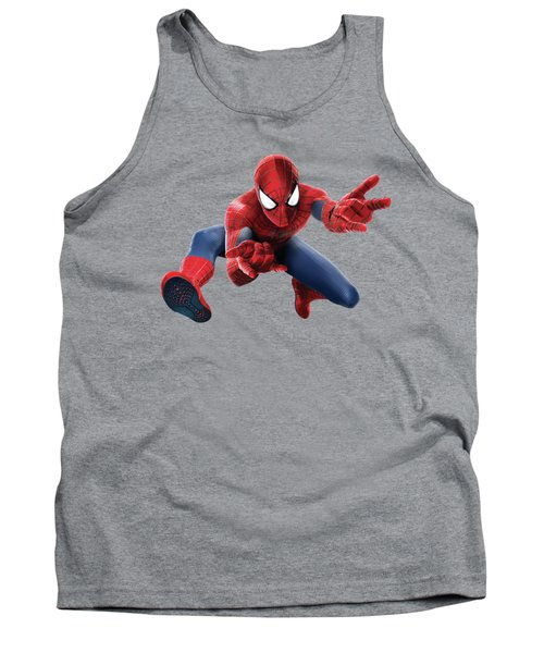 Tank Top featuring the mixed media Spider Man Splash Super Hero Series by Movie Poster Prints