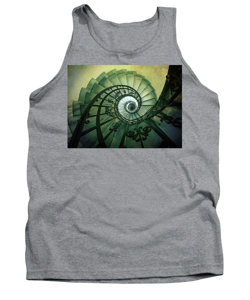 Tank Top featuring the photograph Spiral Stairs In Green Tones by Jaroslaw Blaminsky