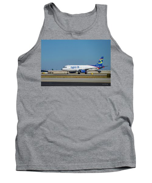Tank Top featuring the photograph Spirit Airlines Airbus A320 N608nk Airplane Art by Reid Callaway