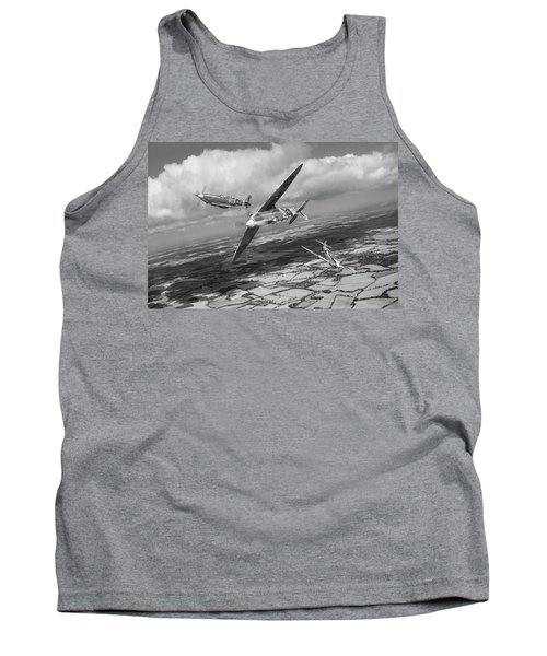 Tank Top featuring the photograph Spitfire Tr 9 Fighter Affiliation Bw Version by Gary Eason