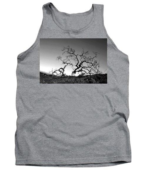 Split Single Tree On Hillside - Black And White Tank Top