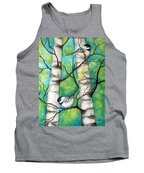 Spring Chickadees Tank Top by Inese Poga