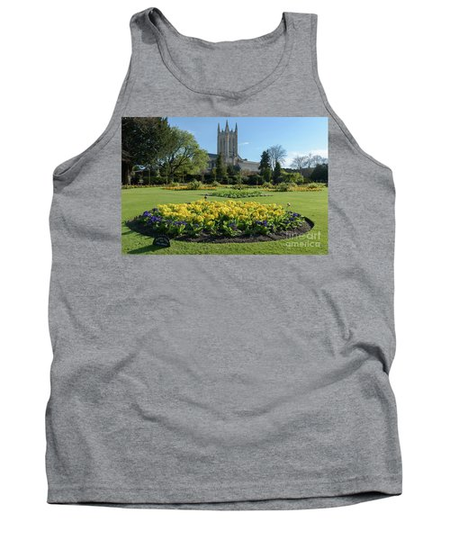 St Edmundsbury Cathedral With Flower Garden In Foreground Tank Top