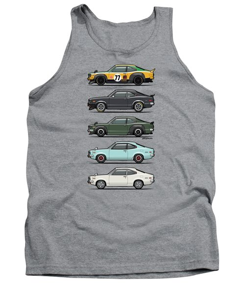 Stack Of Mazda Savanna Gt Rx-3 Coupes Tank Top