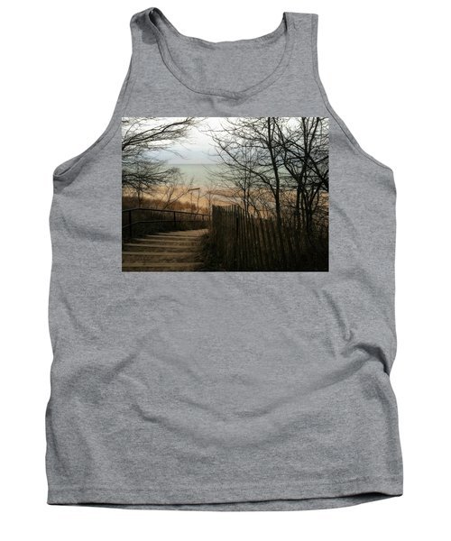 Tank Top featuring the photograph Stairs To The Beach In Winter by Michelle Calkins
