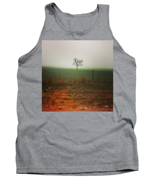 Standing Alone, A Lone Tree In The Fog. Tank Top