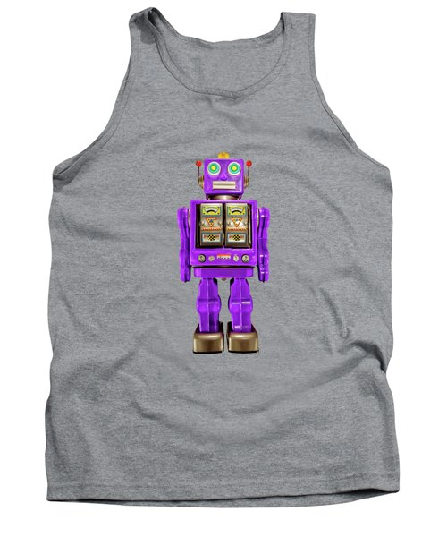 Tank Top featuring the photograph Star Strider Robot Purple On Black by YoPedro