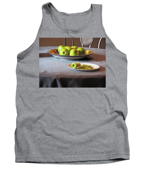 Still Life With Apples And Chair Tank Top by Lynda Lehmann