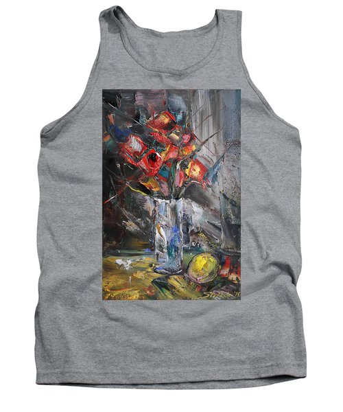 Still Life With Red Flowers And Lemon Tank Top