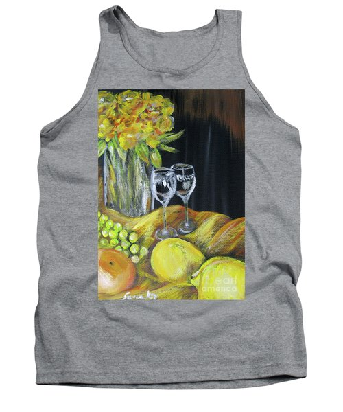 Still Life With Wine Glasses, Roses And Fruit. Painting Tank Top
