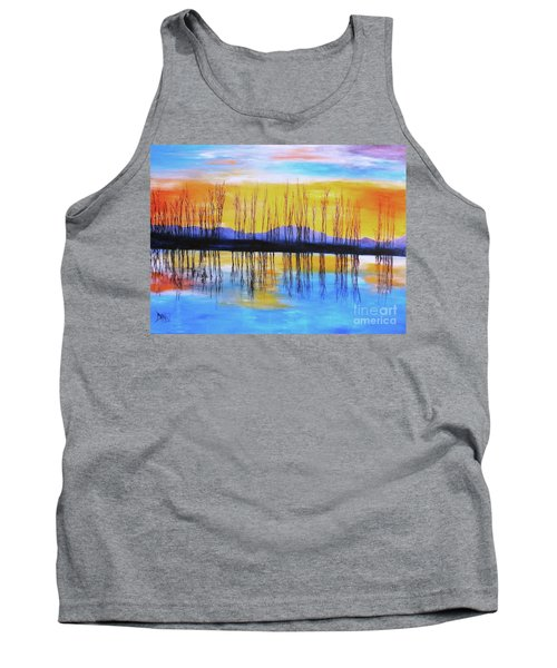 Tank Top featuring the painting Still Waters From The Water Series  by Donna Dixon