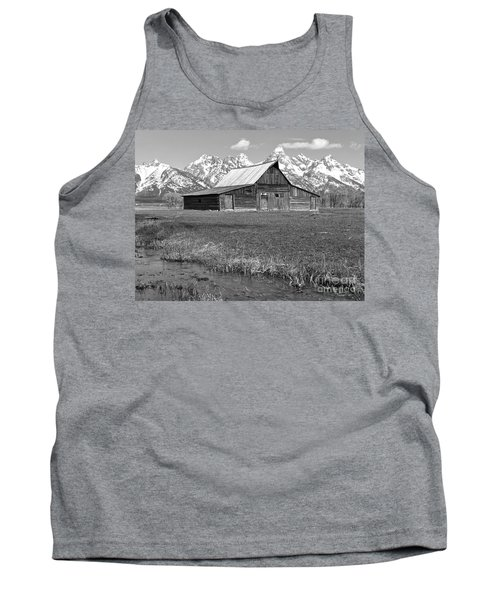 Streaming By The Moulton Barn Black And White Tank Top by Adam Jewell