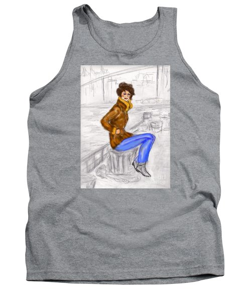 Tank Top featuring the drawing Strike A Pose by Desline Vitto