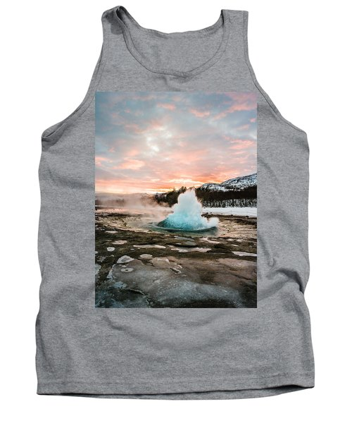 Strokkur Winter Blowup In Front Of Sunset Tank Top
