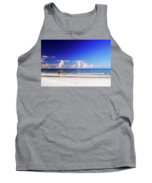 Tank Top featuring the photograph Strolling The Beach by Gary Wonning
