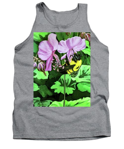 Tank Top featuring the painting Summer Garden Bumblebee And Flowers Nature Painting by Linda Apple