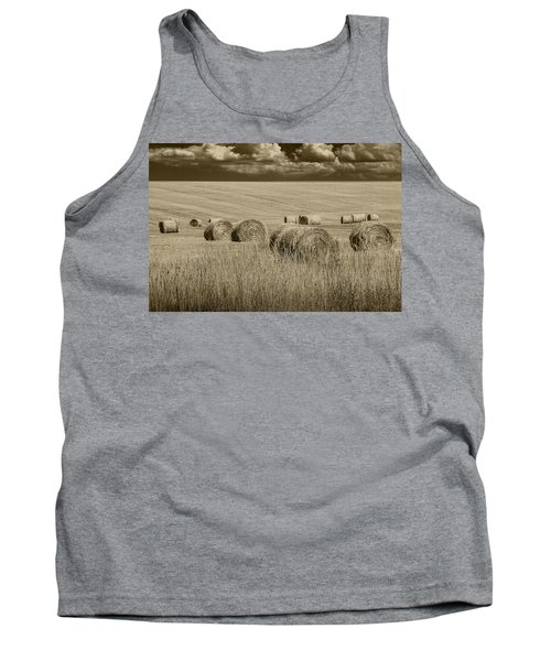 Summer Harvest Field With Hay Bales In Sepia Tank Top by Randall Nyhof
