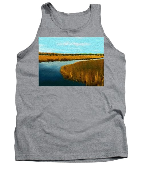 Tank Top featuring the digital art Summer Marsh South Carolina Lowcountry by Anthony Fishburne