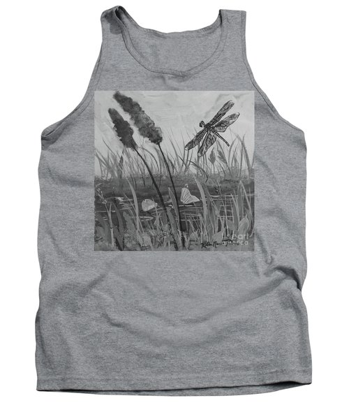 Tank Top featuring the painting Summertime Dragonfly Black And White by Robin Maria Pedrero
