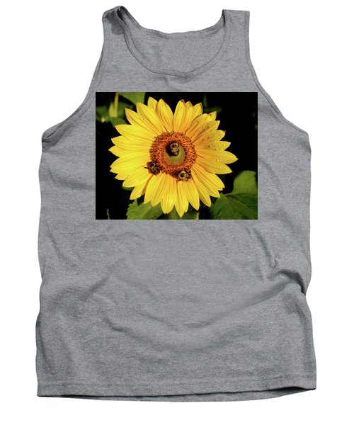 Sunflower And Bees Tank Top by Nancy Landry