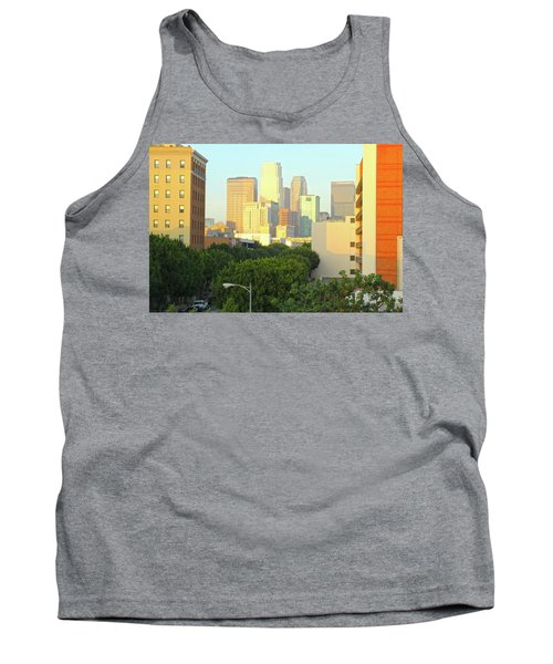 Sun Sets On Downtown Los Angeles Buildings #1 Tank Top