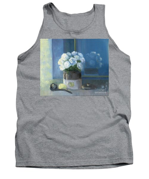 Sunday Morning And Roses - Blue Tank Top
