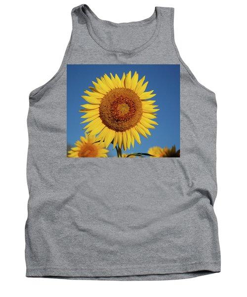 Sunflower And Blue Sky Tank Top by Nancy Landry