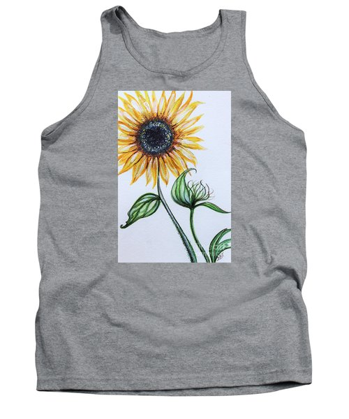 Tank Top featuring the painting Sunflower Botanical by Elizabeth Robinette Tyndall