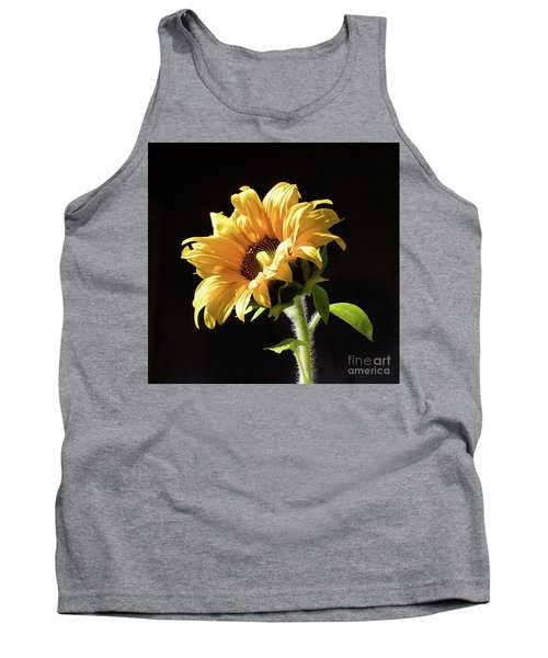 Sunflower Isloated On Black Tank Top