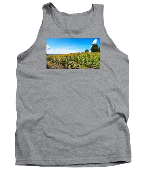 Tank Top featuring the photograph Sunflowers In Ithaca New York by Paul Ge