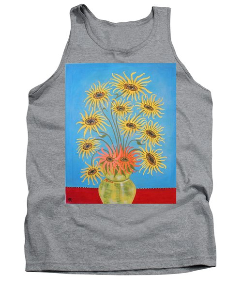 Sunflowers On Blue Tank Top