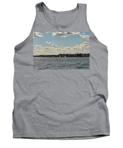 Tank Top featuring the photograph Sunlit Sailboats Norwalk Connecticut From The Water by Marianne Campolongo