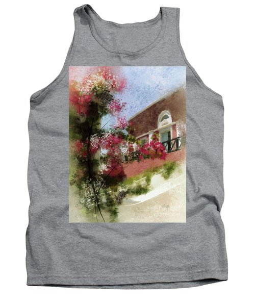 Tank Top featuring the photograph Sunny Santorini by Lois Bryan