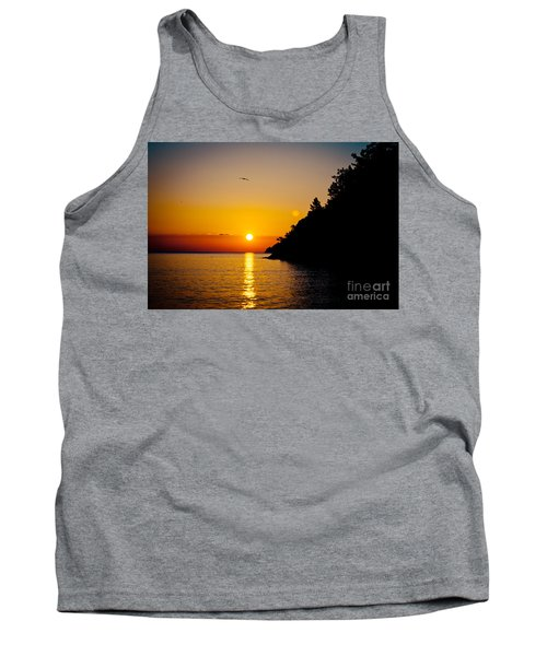 Sunrise And Seascape Orange Color Tank Top