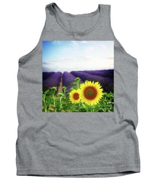 Sunrise Over Sunflower And Lavender Field Tank Top by Anastasy Yarmolovich
