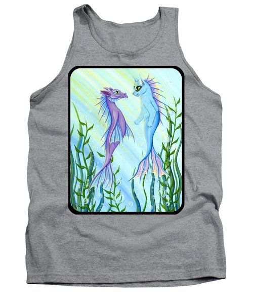 Tank Top featuring the painting Sunrise Swim - Sea Dragon Mermaid Cat by Carrie Hawks