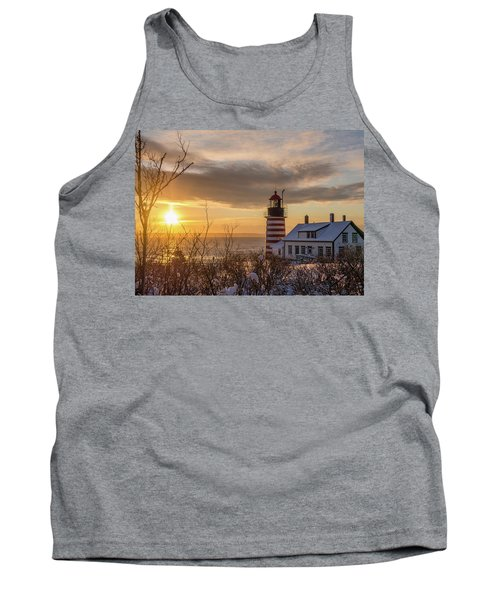 Sunrise West Quoddy Lighthouse Tank Top by Trace Kittrell