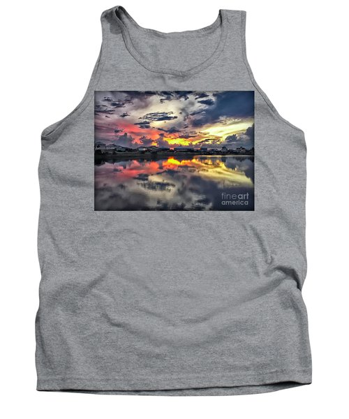 Sunset At Oyster Lake Tank Top