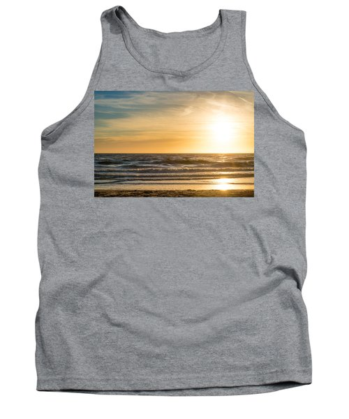 Tank Top featuring the photograph sunset at the North Sea by Hannes Cmarits