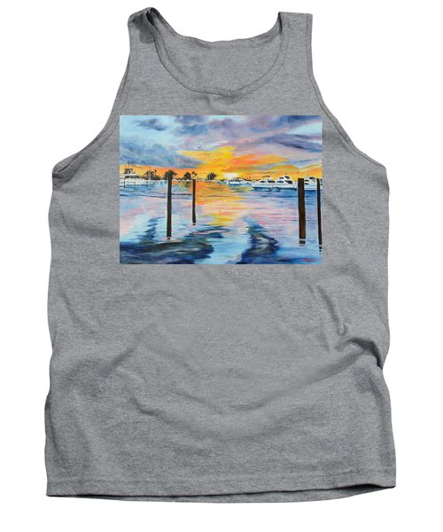 Sunset At The Yacht Club Tank Top by Lloyd Dobson