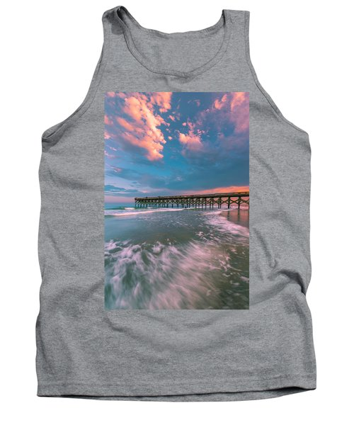 Sunset At Wilmington Crystal Pier In North Carolina Tank Top
