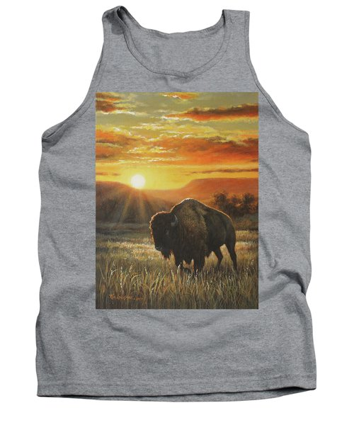 Sunset In Bison Country Tank Top by Kim Lockman