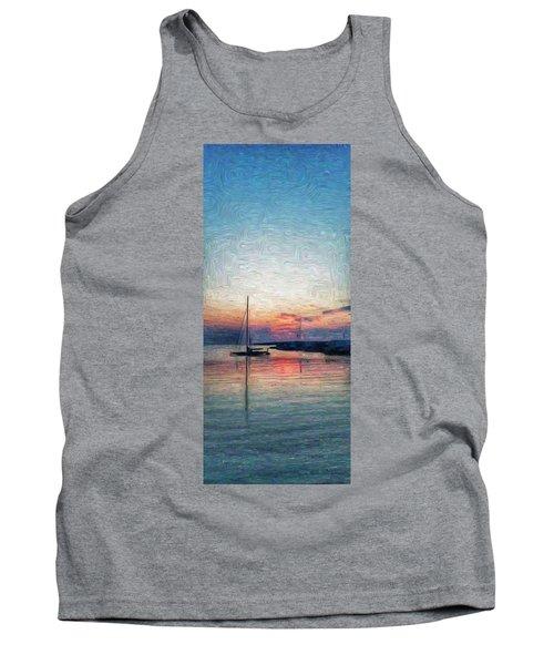 Sunset In Oil Tarpaulin Cove Tank Top