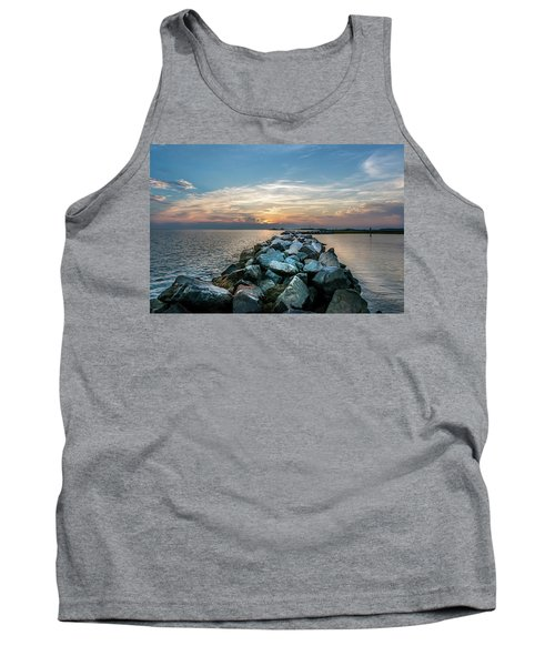 Sunset Over A Rock Jetty On The Chesapeake Bay Tank Top