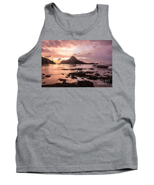 Sunset Over El Nido Bay In Palawan In The Philippines Tank Top