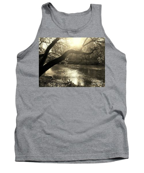 Sunset Over Flat Rock River - Southern Indiana - Sepia Tank Top