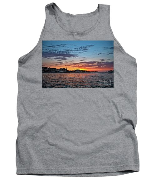 Sunset Over Huntington Harbour Tank Top by Peter Dang